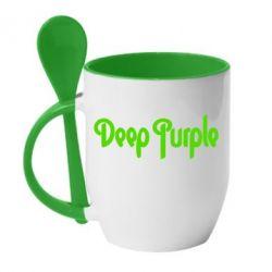 Кружка с керамической ложкой Deep Purple - FatLine