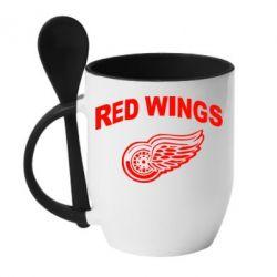 Кружка с керамической ложкой Detroit Red Wings - FatLine