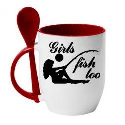 Кружка с керамической ложкой Девушки тоже рыбачат - FatLine