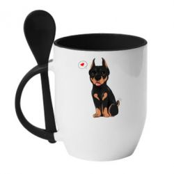 Кружка с керамической ложкой Doberman Puppy