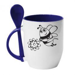 Кружка с керамической ложкой Добрая пчелка - FatLine