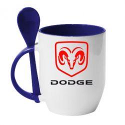 Кружка с керамической ложкой DODGE - FatLine