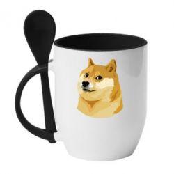 Кружка с керамической ложкой Doge - FatLine