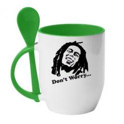 Кружка с керамической ложкой Don't Worry (Bob Marley) - FatLine