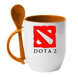 Кружка с керамической ложкой Dota 2 Big Logo - FatLine