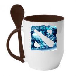 Кружка с керамической ложкой Dota 2 Fan Art (Logo) - FatLine