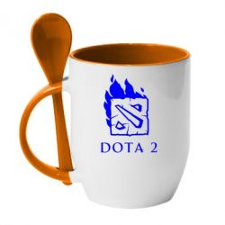 Кружка с керамической ложкой Dota 2 Fire - FatLine