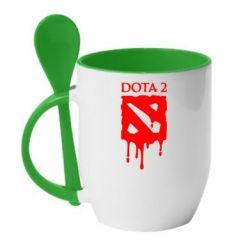 Кружка с керамической ложкой Dota 2 Logo - FatLine