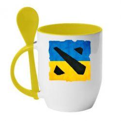 Кружка с керамической ложкой Dota 2 Ukraine Team - FatLine