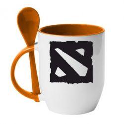 Кружка с керамической ложкой Dota Logo Дота - FatLine