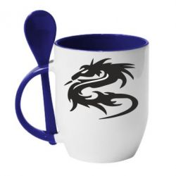 Кружка с керамической ложкой Дракон - FatLine