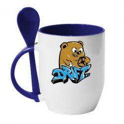 Кружка с керамической ложкой Drift Bear - FatLine