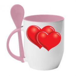 Кружка с керамической ложкой Два сердца - FatLine