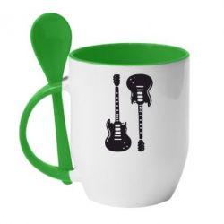 Кружка с керамической ложкой Две гитары - FatLine