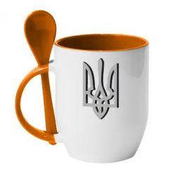 Кружка з керамічною ложкою Двокольоровий герб України