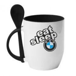 Кружка з керамічною ложкою Eat, sleep, BMW