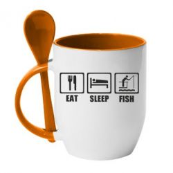 Кружка з керамічною ложкою Eat, sleep, fish