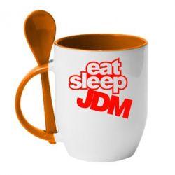 Кружка с керамической ложкой Eat sleep JDM - FatLine