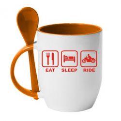 Кружка с керамической ложкой Eat, sleep, ride - FatLine