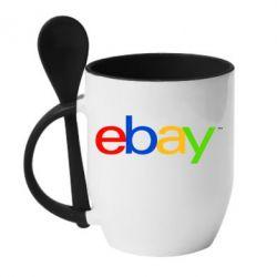 Кружка с керамической ложкой Ebay - FatLine