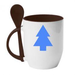 Кружка с керамической ложкой Елка - FatLine