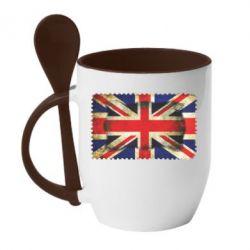Кружка с керамической ложкой England