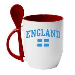 Кружка с керамической ложкой England - FatLine