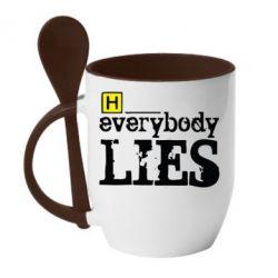 Кружка с керамической ложкой Everybody LIES House - FatLine