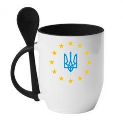 Кружка с керамической ложкой ЕвроУкраїна - FatLine