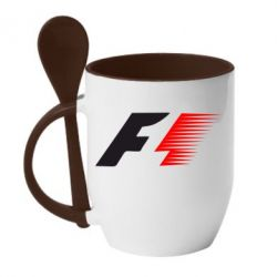 Кружка с керамической ложкой F1 - FatLine