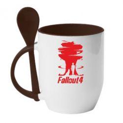 Кружка с керамической ложкой Fallout 4 Art