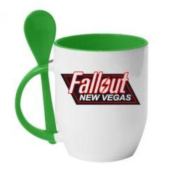 Кружка с керамической ложкой Fallout New Vegas