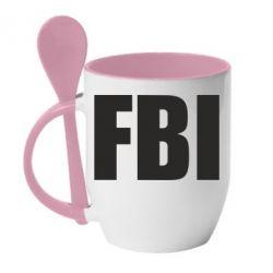 Кружка с керамической ложкой FBI (ФБР) - FatLine