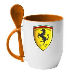 Кружка с керамической ложкой Ferrari 3D Logo - FatLine