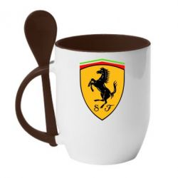 Кружка с керамической ложкой Ferrari - FatLine
