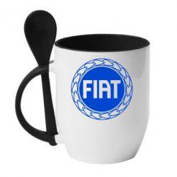 Кружка с керамической ложкой Fiat logo - FatLine