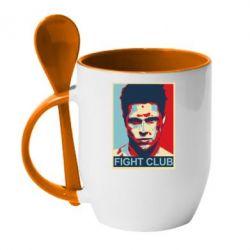 Кружка с керамической ложкой Fight Club Tyler Durden - FatLine