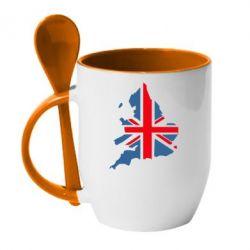 Купить Кружка с керамической ложкой Флаг Англии, FatLine