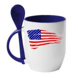 Купить Кружка с керамической ложкой Флаг США, FatLine