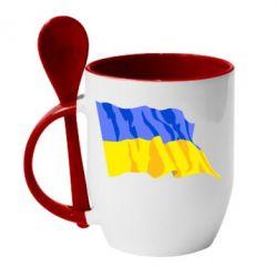 Кружка с керамической ложкой Флаг - FatLine