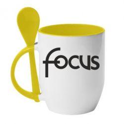 Кружка с керамической ложкой Focus - FatLine