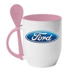 Кружка с керамической ложкой Ford 3D Logo - FatLine