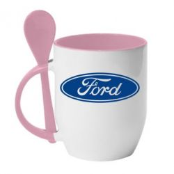 Кружка с керамической ложкой Ford Logo - FatLine