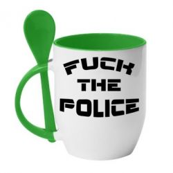 Кружка с керамической ложкой Fuck The Police К черту полицию - FatLine