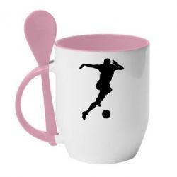 Кружка с керамической ложкой Футбол - FatLine