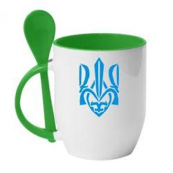 Кружка с керамической ложкой Гарний герб України - FatLine