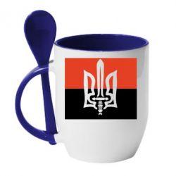 Кружка с керамической ложкой Герб Правого Сектору - FatLine