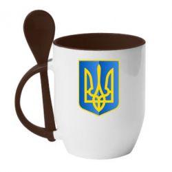 Кружка с керамической ложкой Герб України 3D - FatLine