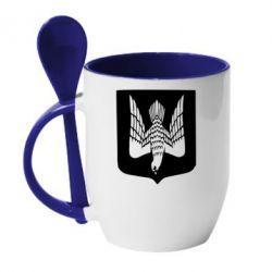 Кружка с керамической ложкой Герб України сокіл - FatLine