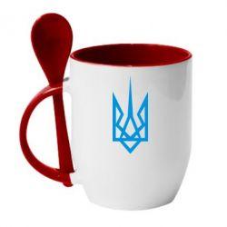 Кружка с керамической ложкой Герб України загострений - FatLine